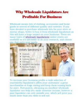 Why Wholesale Liquidators Are Profitable For Business