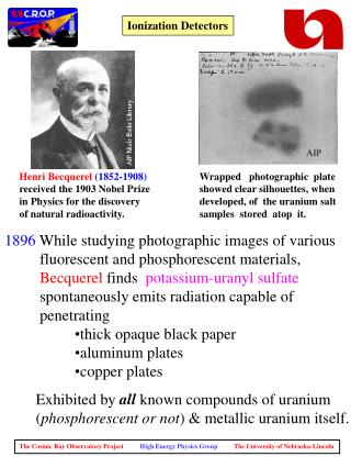 Henri Becquerel 1852-1908  received the 1903 Nobel Prize  in Physics for the discovery  of natural radioactivity.