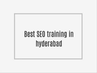 Best SEO training in Hyderabad