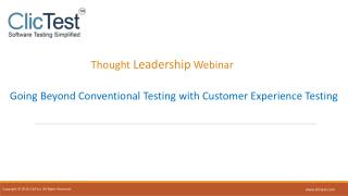 Thought Leadership Webinar - Customer Experience Testing