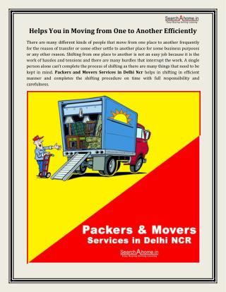 Packers and Movers Services in Delhi Ncr