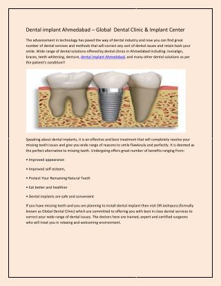 Dental implant Ahmedabad – Global  Dental Clinic & Implant Center
