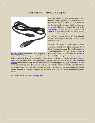Seek Out Well-Suited USB Adaptors