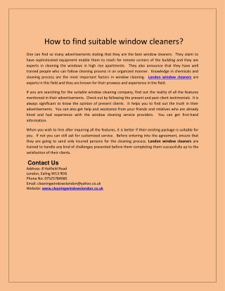How to find suitable window cleaners?