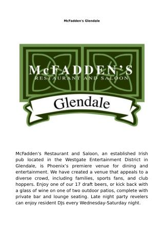 McFadden's Glendale Arizona - Late night restaurant · Sports bar · Event venue
