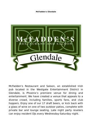 McFadden's Glendale Arizona - Late night restaurant � Sports bar � Event venue
