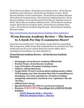 ECom Success Academy review and sneak peek demo