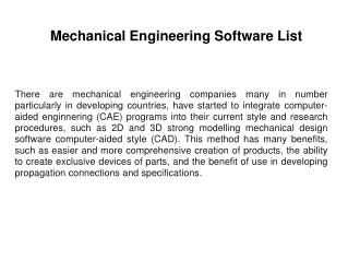 Mechanical Engineering software list