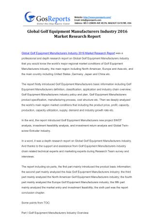 Global Golf Equipment Manufacturers Industry 2016 Market Research Report