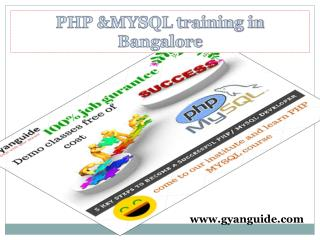 PHP Mysql Training Btm Layout Bangalore