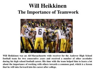 Will Heikkinen The Importance of Teamwork