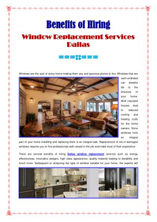 Window Replacement Services Dallas