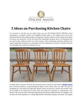 5 Ideas on Purchasing Kitchen Chairs