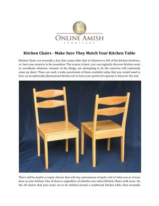 Kitchen Chairs - Make Sure They Match Your Kitchen Table