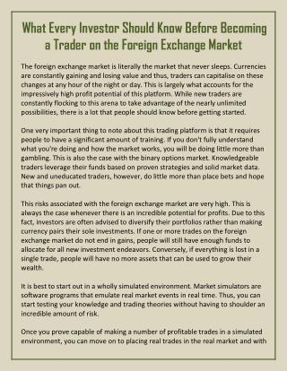 What Every Investor Should Know Before Becoming a Trader on the Foreign Exchange Market