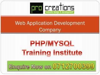 Pro Creations | PHP MYSQL Training Institute