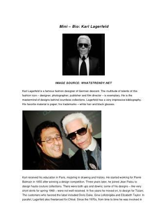 Mini–Bio: Karl Lagerfeld