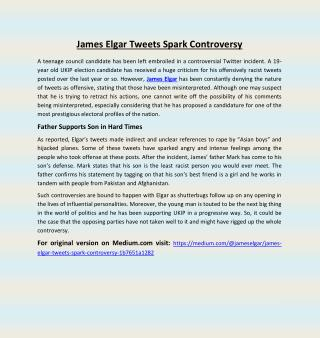 James Elgar Tweets Spark Controversy