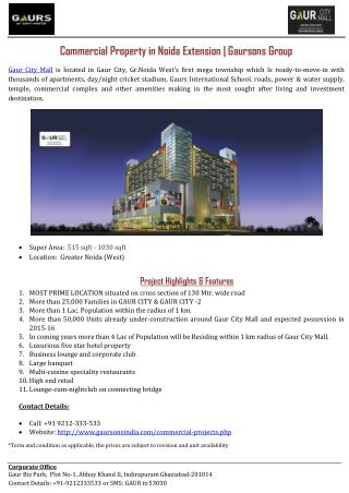 Commercial Property in Noida Extension | Gaursons Group