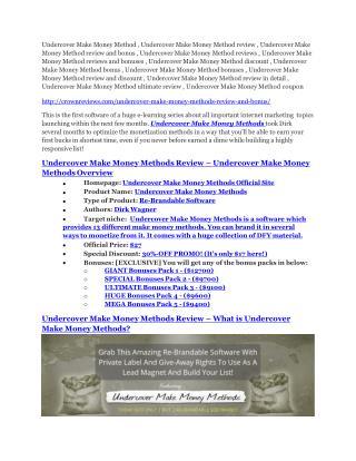 Undercover Make Money Method review & huge  100 bonus items