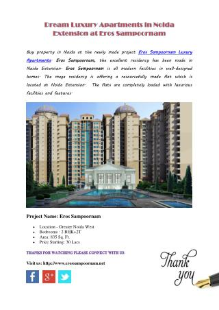Dream Luxury Apartments in Noida Extension at Eros Sampoornam