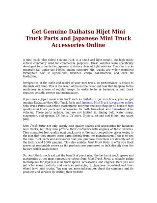 Get Genuine Daihatsu Hijet Mini Truck Parts and Japanese Mini Truck Accessories Online