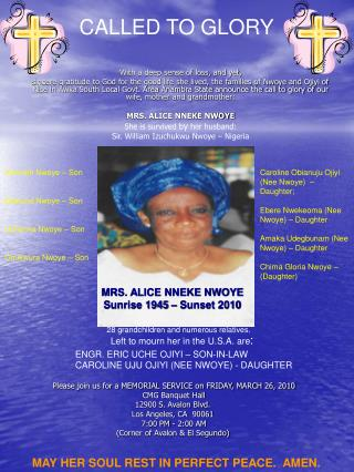 Please join us for a MEMORIAL SERVICE on FRIDAY, MARCH 26, 2010  CMG Banquet Hall 12900 S. Avalon Blvd. Los Angeles, CA