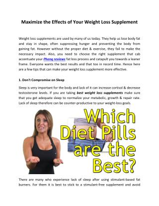 Maximize the Effects of Your Weight Loss Supplement