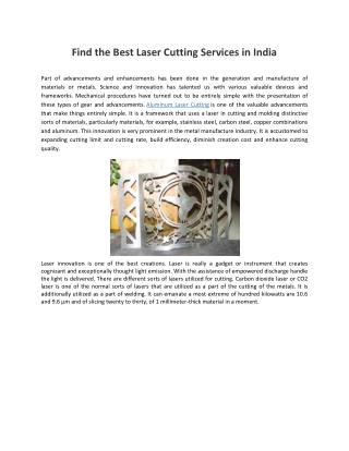 Find the Best Laser Cutting Services in India