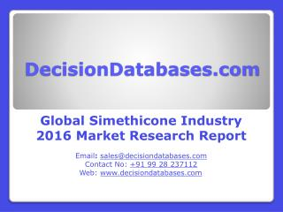 Worldwide Simethicone Market Manufactures and Key Statistics Analysis 2016