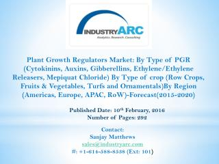 Plant growth regulators Market has improvingly gained much of significance in the past few years.