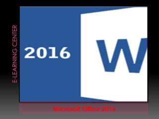 Microsoft Office 2016 Course