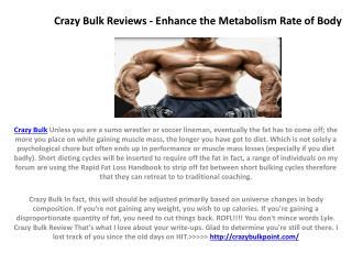 Crazy Bulk Reviews - Enhance the Metabolism Rate of Body