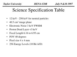 Science Specification Table