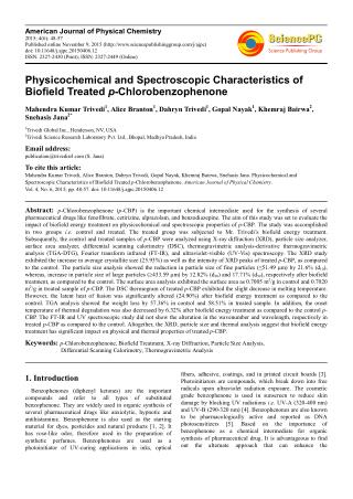 Physicochemical and Spectroscopic Characteristics of Biofield Treated p-Chlorobenzophenone