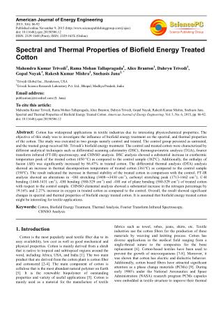 Spectral and Thermal Properties of Biofield Energy Treated Cotton