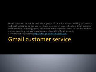 Gmail customer service  number : 1-866-293-8400