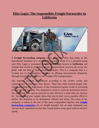 Elite Logix: The responsible Freight Forwarder in California