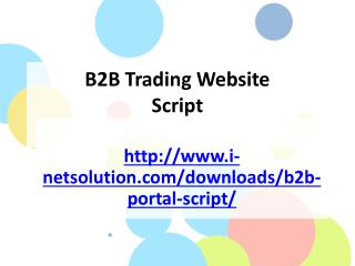 B2B Trading Website Script