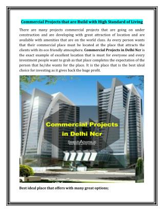 Commercial Projects that are Build with High Standard of Living