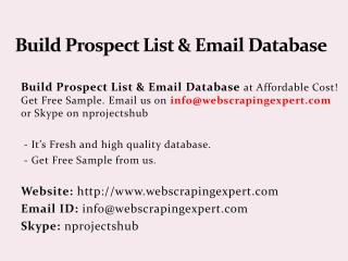 Build Prospect List & Email Database