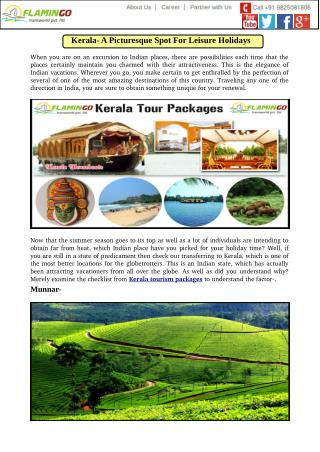 Kerala- A Picturesque Spot For Leisure Holidays