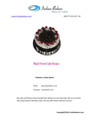 Easy Black Forest Cake – Recipe/Order Online