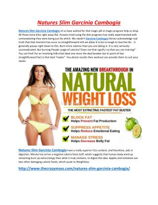 Natures Slim Garcinia Cambogia Looks Hot & Sexy