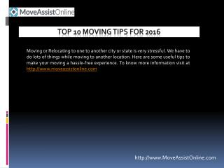 2016's Top 10 Moving Tips