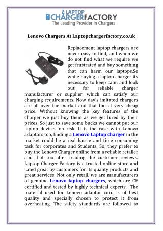 Lenovo Chargers At Laptopchargerfactory