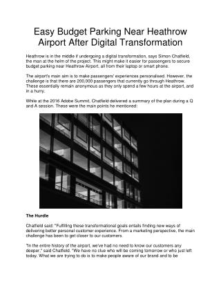 Easy Budget Parking Near Heathrow Airport After Digital Transformation