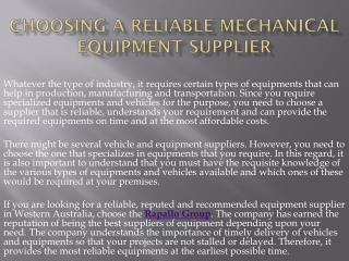 Choosing a Reliable Mechanical Equipment Supplier