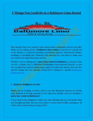 5 Things You Could Do in a Baltimore Limo Rental