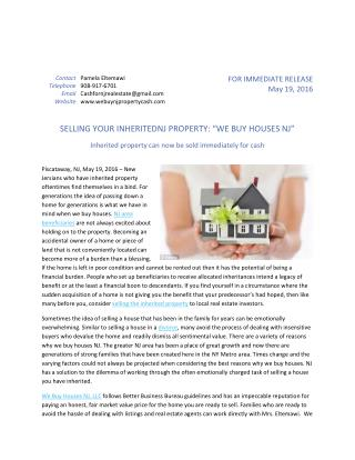 "SELLING YOUR INHERITED NJ PROPERTY: ""WE BUY HOUSES NJ"""